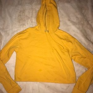 Cropped mustard yellow hoodie